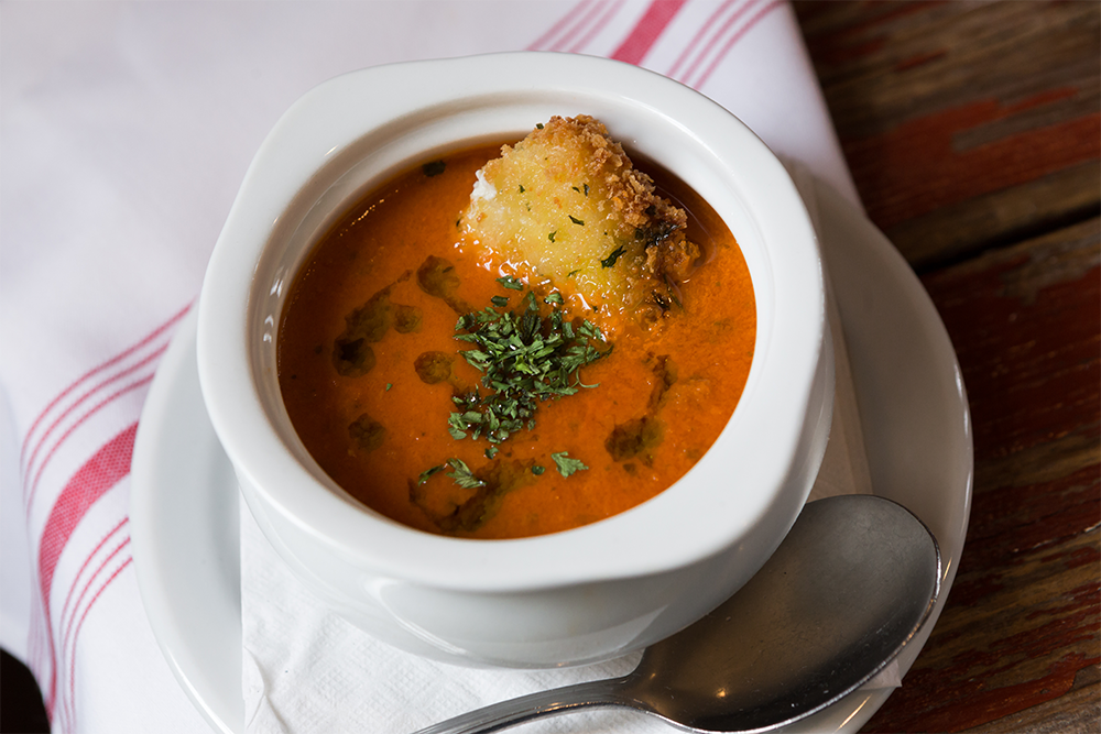 Image of Jersey Tomato Soup - Tomato Bisque, Basil Oil, Fried Mozzarella Wedge
