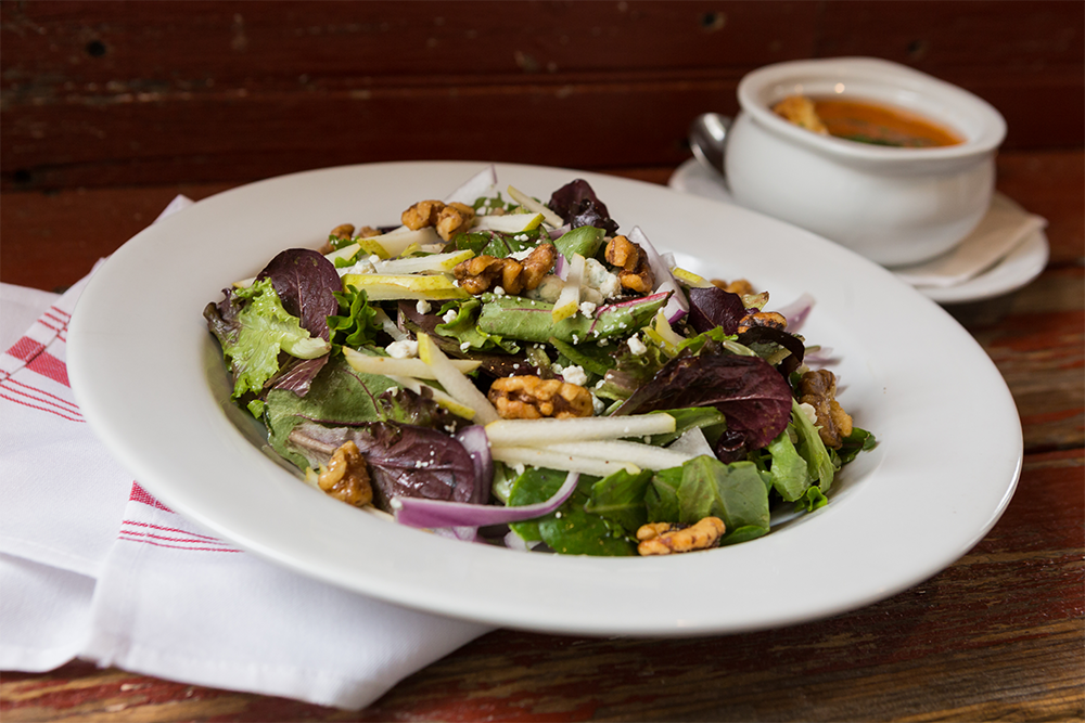 Image of Liberty Union Salad - Sliced Pear, Crumbled Bleu Cheese, Red Onion, Candied Walnut, Mixed Greens, Black Pepper Vinaigrette, Crostini