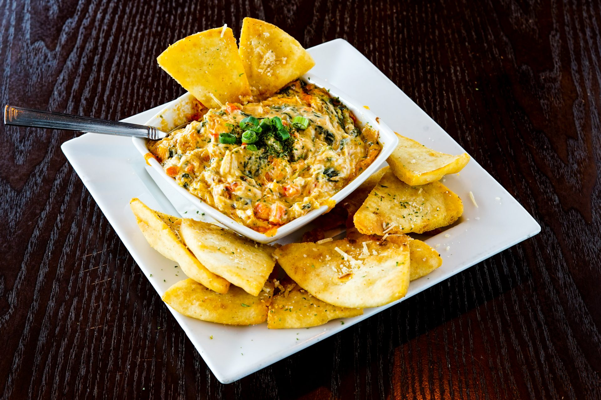 Image of Maryland Crab Dip - Crab, Shrimp, Spinach, Old Bay, Cheese Blend. Crispy Pita Chips